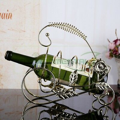 Metal Wine Rack Bottle Holder Home Table Decor Handle Stand Baskest