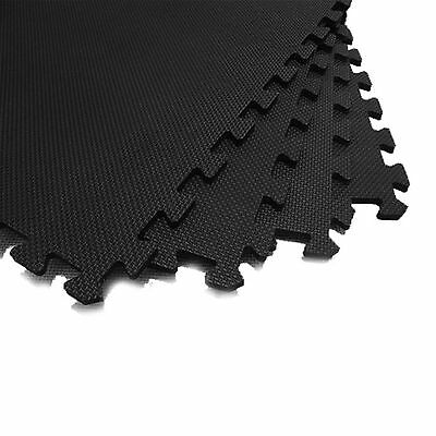 Black 60 X 60 Interlocking Eva Foam Soft Mats Garage Gym Pool Floor In Out Door