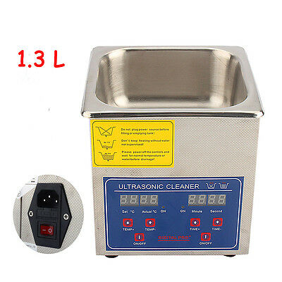 Digital 1.3L Ultrasonic Ultra Sonic Cleaner Timer Stainless Steel Tank Access UK