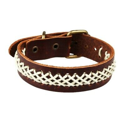 Unisex Men Women Black Brown Cotton Rope Braided Leather Bracelet Wristband