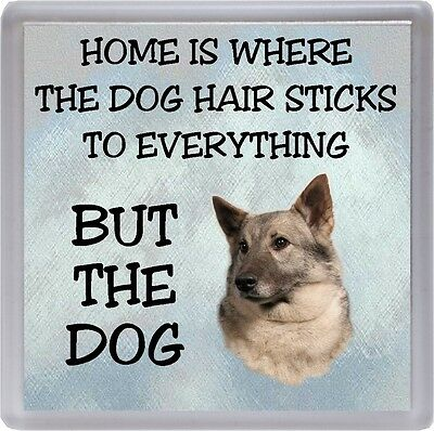 """Elkhound Coaster """"Home is Where the Dog Hair Sticks ...."""" by Starprint"""