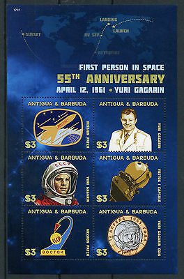 Antigua & Barbuda 2017 MNH Yuri Gagarin 1st Person Space 55th Ann 6v M/S Stamps