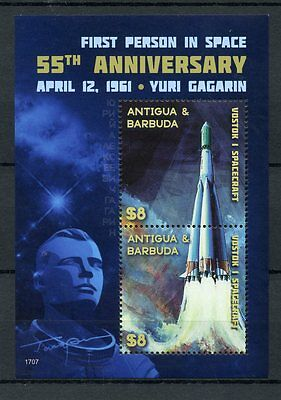 Antigua & Barbuda 2017 MNH Yuri Gagarin 1st Person Space 55th Ann 2v S/S Stamps