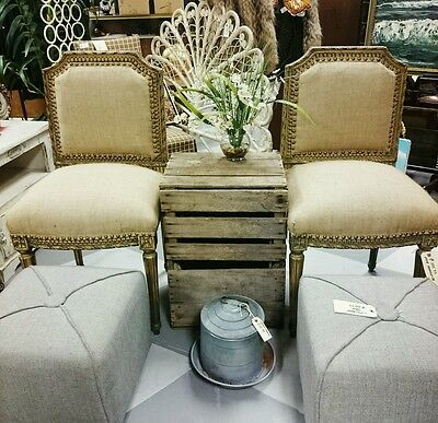 Pair French Country Provential Style Burlap Nailhead Side or Dining Chair