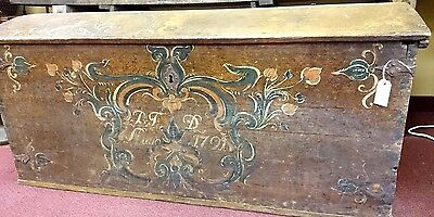 18th Century 1791 Dated Handpainted Painted Dutch RARE Trunk Wood Chest Box
