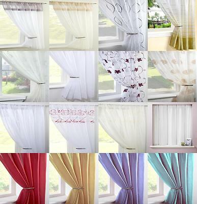 Clearance Voile Curtain Panels Plain Floral Striped Curtains Many Sizes & Colour