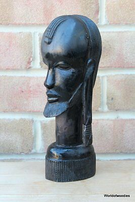 Vintage Tribal African Ebony Carved Male Head Sculpture