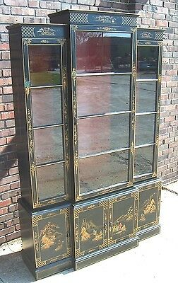 Vintage black painted Chinoiserie china cabinet