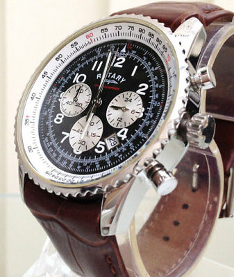 Rotary Men's Watch Chronospeed Chronograph quartz brown Leather Strap Watch NEW!