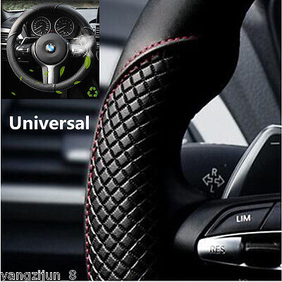 Car Steering Wheel Cover Black & Red Stitching PU Leather Universal 38cm 15inch