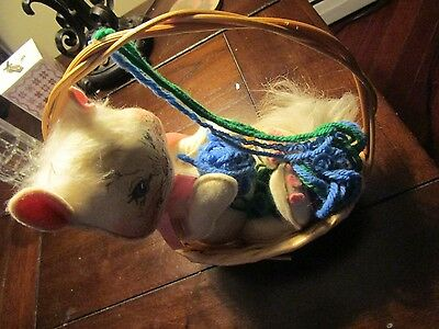 Vtg Annalee Doll Spring  Cat In Basket playing with Yarn Ball 1986