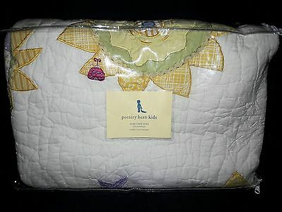 Pottery Barn Kids Sunflower Floral Embroidered Quilt Toddler Nursery New