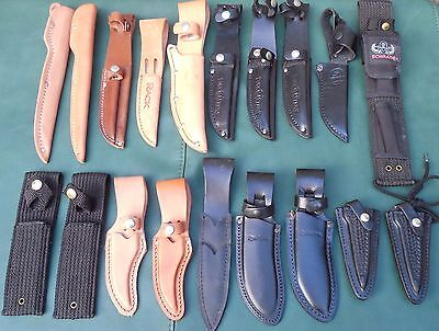 Mixed lot of 19 knife sheathes. New.  Some 1st quality, some 2nd.