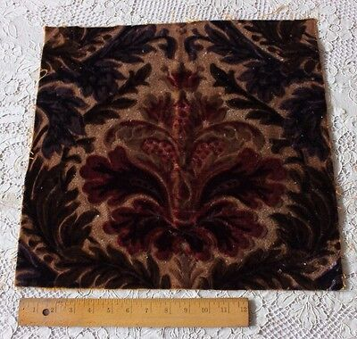 Antique French Napoleon III Silk & Wool Cut Velvet Frame Fabric c1860~For Pillow