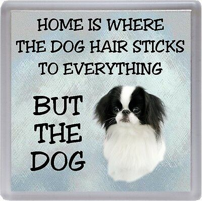 """Japanese Chin Coaster """"Home is Where the Dog Hair Sticks  ..."""" by Starprint"""