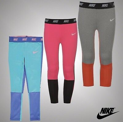 Infant Girls Branded Nike Everyday Casual Block Dri-Fit Leggings Size Age 2-7