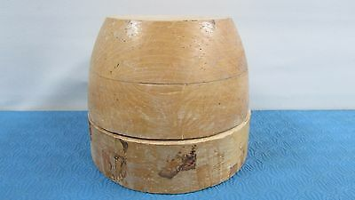 """Antique Wood Wooden Hat Block Head Style Form Display Mold Millinery Size 22""""1/4"""