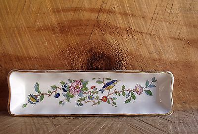 VTG Aynsley Bone China Pin Dish 18th Cent Pembroke Repro Design Floral Blue Bird