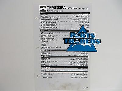 Yamaha Quick Reference Service Manual Spec Data Sheet YFM600FA Grizzly 4WD 99-01