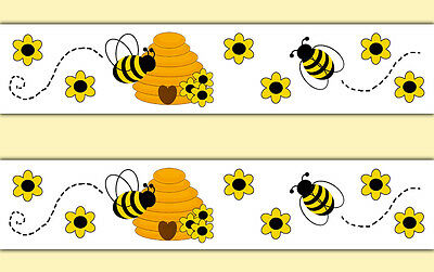 Honey Bumble Bee Wallpaper Border Wall Decals Baby Girl Nursery Hive Stickers