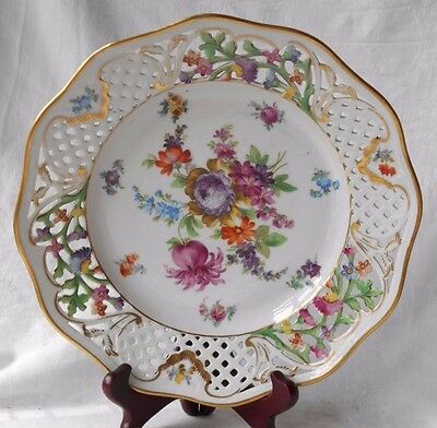 Late C19Th / Early C20Th Schumann Dresden Hand Painted Reticulated Dish Gilt Rim