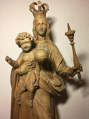 Antique Vintage Hand Carved Wood Virgin Mary Our Lady Mother God Jesus Statue