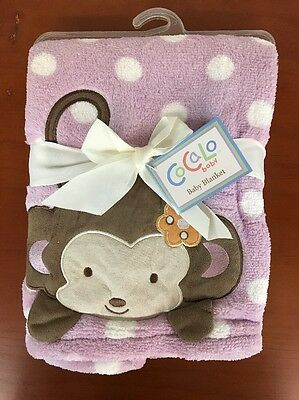 "CoCaLo Purple White Dots Monkey In Corner Baby Blanket ""Jacana"" Li"