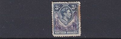 Northern Rhodesia  1938 - 52   S G 42   3/-  Violet  & Blue   Used  Stained