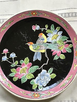 Antique Japanese Yamatoku Hand Painted  Bird Pair Noir Blossom Decorative Plate