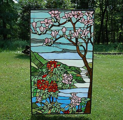 """20"""" x 34"""" Tiffany Style stained glass Jeweled window panel Cherry Blossom"""