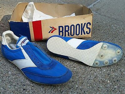 Vintage Rare Brooks Track Spikes 1960s 1970s Running Shoes Blue and White