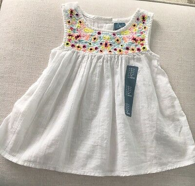 GAP Baby Toddler 2T 2 Years White Sleeveless Embroidery Top Shirt NWT