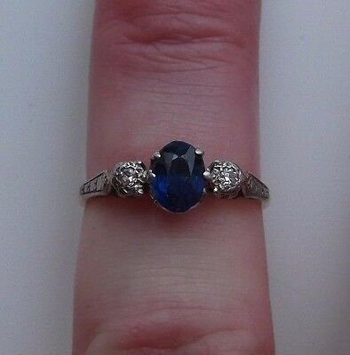 Stunning Antique 18ct Gold And Platinum Sapphire & Diamond Ring Size N 1/2
