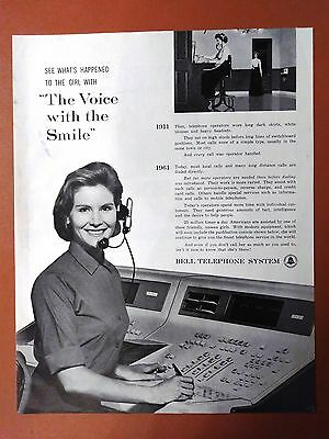 "1961 Bell Telephone System Operator ""Voice with Smile"" Original Vintage Print Ad"