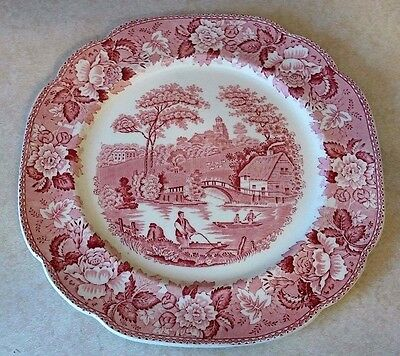 "Transferware Corona Ware Dinner Plate C H & Co. ""Old English"" Red Pink"