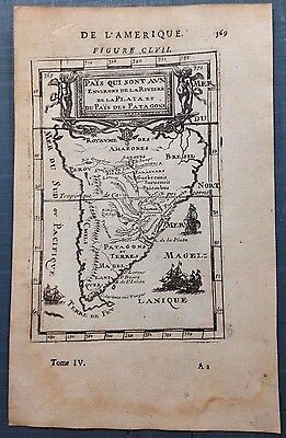 SOUTH AMERICA PATAGONIA 1683 Alain-Manesson MALLET ANTIQUE MAP 1ST EDITION