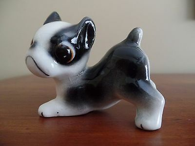 "Vintage black & white  Boston Terrier Ceramic Dog Figurine 2"" x  2"""