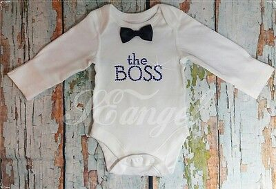 new born baby boy vest bodysuit THE BOSS outfit any size