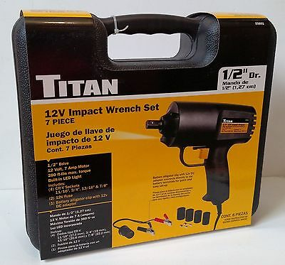 Titan 12V Electric Impact Wrench Set, 280 ft lbs max torque - free shipping