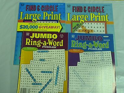 Lot of 4 Different Ring A Word/ Find & Circle Full Size Puzzle books Lg Type NEW
