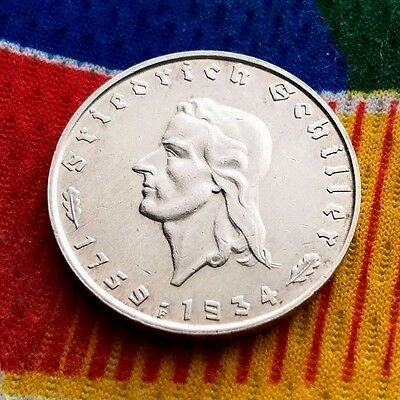 1934 F WWII 2 mark German Silver coin Friedrich Von Schiller Third Reich