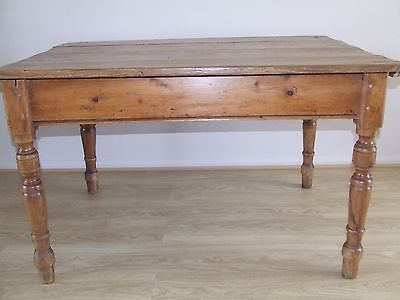 Victorian Pine Plank Top Dining Table With Later Added Drawer