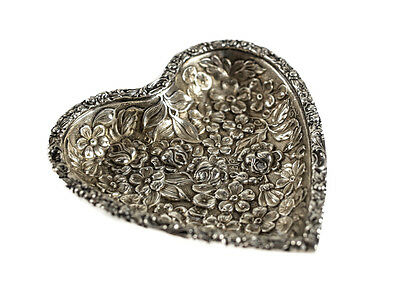 Stieff Sterling Silver Heart Dish Tray Roses Repousse, circa 1900