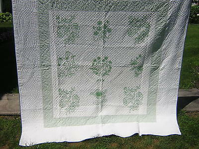 Beautiful Antique Green & White Embroidered Flowers Quilt Heavily Quilted