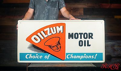 Original Vintage Oilzum Motor Oil 1957 Tin Sign