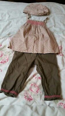 Vertbaudet baby girls outfit. Age 12-18 months. Floral Top trousers and headband