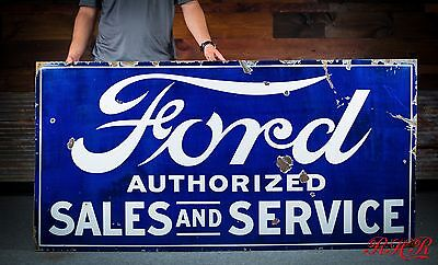 Original Ford Sales & Service Porcelain Gas Oil Dealership Sign