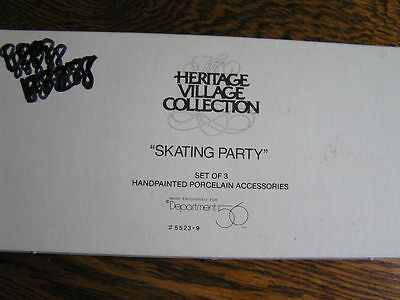 Dept 56 Heritage Village Collection SKATING PARTY Set 3 Hand~Painted Figures~NIB
