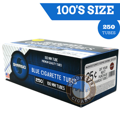 1x Box Shargio Blue Light 100's Filter Cigarette Tube RYO - 200 Tubes Per Box