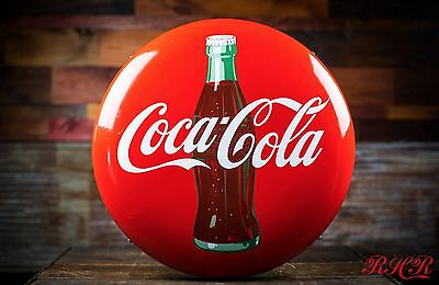 Original 1950s Coca Cola Button Porcelain Sign NOS - free shipping!